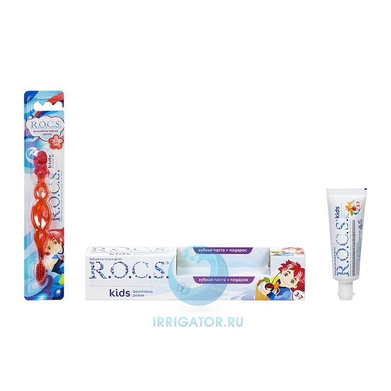 Зубная паста R. O. C. S. Kids Фруктовый рожок +Зубная Щетка, 3-7 лет