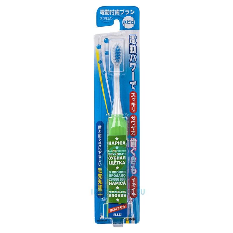 Электрическая зубная щетка Hapica Minus Flat зеленая