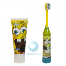 Электрическая зубная щетка Spongebob + зубная паста